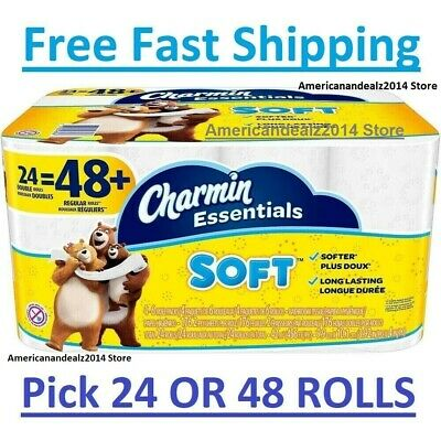 Charmin Essentials Soft Toilet Paper, Bath Tissue, Double Roll, 24 OR 48 Counts