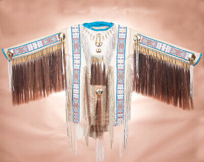 """Authentic Native American Indian White ELK Hide Double Beaded WAR SHIRT 65""""x 34"""""""