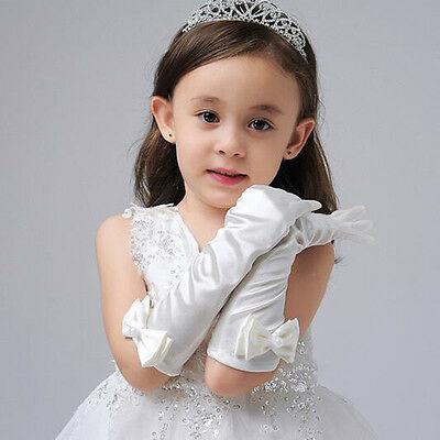 Flower Girls White Princess Long Dress Gloves Fashion Design Kids Bowknot Gloves