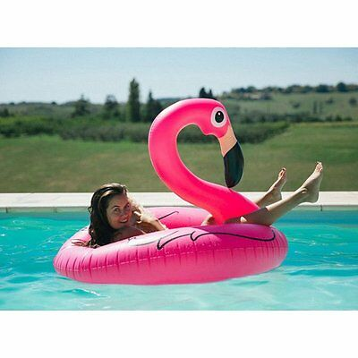 Swimming Pool Inflatable Swim Ring Giant Rideable Pink Flamingo Float Toy