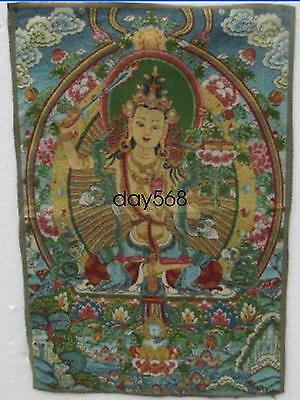 A golden silk embroidery thangka goddess guanyin in Tibet and Nepal