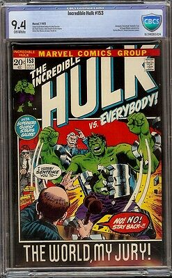 Incredible Hulk # 153 CBCS 9.4 Off-White (Marvel 1972) Black Pictureframe cover