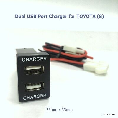 NEW 2 USB Built-in Dash 2 Charger DC12V Max Output 3A/5V for TOYOTA S Car #Mgtc