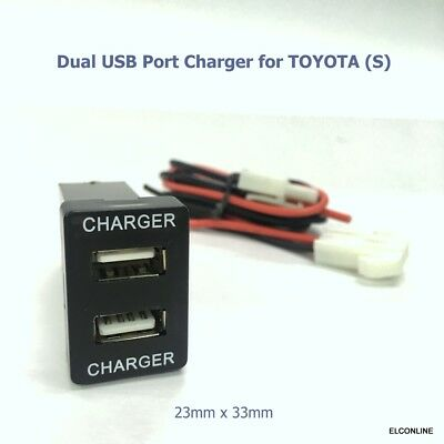 NEW 2 USB Built-in Dash Charger DC12V Max Output 3A/5V for TOYOTA S Car #Mgtc