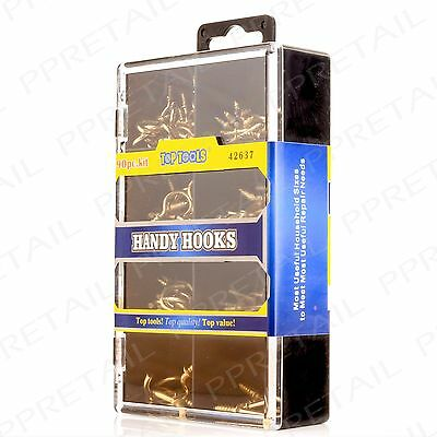90Pc SCREW IN DRESSER & CUP HOOK SET Assorted Brass Shouldered Picture Hanging