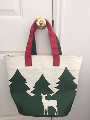 Barnes & Noble TREES & DEER TOTE Christmas Winter Canvas Book Bag NWT NEW