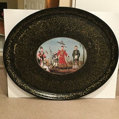 A RARE Antique Hand Painted Wooden Tray Asian Scene Black 1940s MINT!!
