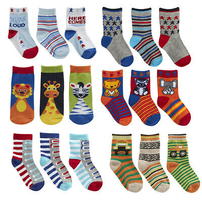 6 Pairs Baby Boys Design Socks Cotton Rich New Fun Animal Stars Cute Printed
