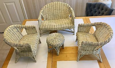 """Vintage Wicker Doll Furniture, 18"""" Love Seat, two 12.5"""" Chairs and 7.5"""" Table."""
