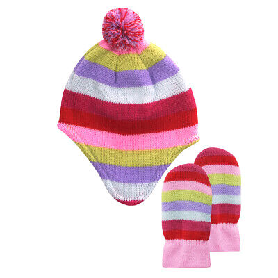 Infant Toddler Baby Girls Peruvian Hat and Mitten Set Bundle Winter Warm New UK