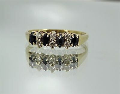 9ct Gold SAPPHIRE & ZIRCON CLUSTER RING Marquise Cut P 1/2 Resizeable