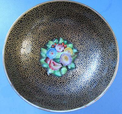 Plant Tuscan China Black Gilded Small Bowl With Flower Insert Vintage