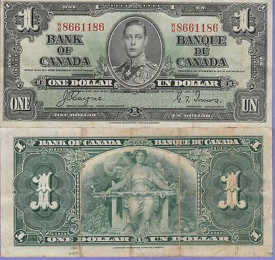 Canada-1 Dollar Banknote 1937 Choice Fine Condition Cat#58-E-1186