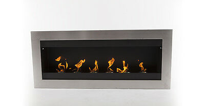 "EcoPyro Hogadon Wall Inserted Ethanol Fireplace 47"" Wide, Stainless Steel/Black"