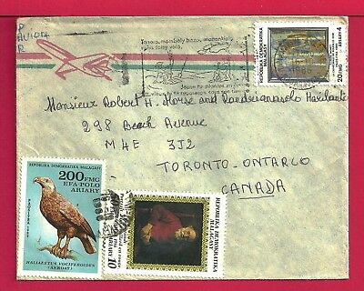1986 Madagascar Tri Franked Airmail Cover Pictorial Tananarive To Canada 18