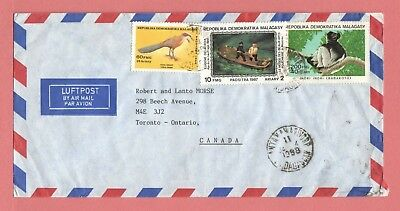 1988 Madagascar Tri Franked Airmail Cover To Canada 1