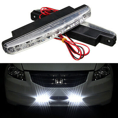 UK 2X 8LED DRL Daytime Running Lights Driving Fog Head Lamp Daylight Super White