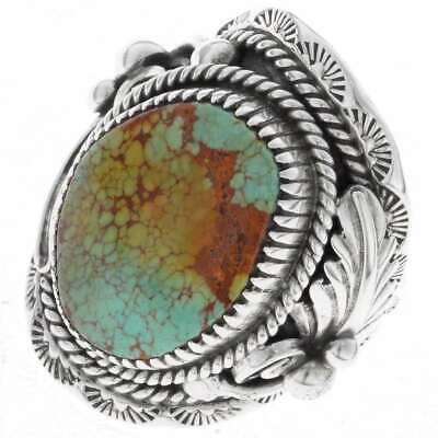 NAVAJO Natural # 8 Spiderweb Turquoise Men's Ring Silver Big Boy Sizes 9 to 13