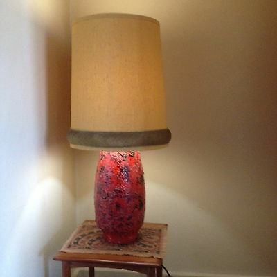 Massive Vintage Italy Pottery Lava Feature Lamp 1960 Retro Style PU Only 3054