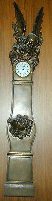 Museum Quility Antique French Bronze Father Time & New Year Baby Wall Clock