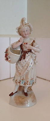 Antique German, French or Dutch Porcelain Flower Seller Figurine