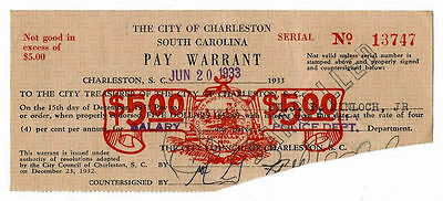 1933 The City of Charleston, South Carolina Five Dollar Pay Warrant