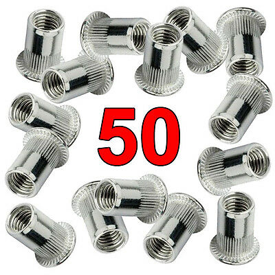 Qty. 50 Nut Rivnut Stainless Steel 304 Rivet Insert Nutsert - #1/4-20 UNC Nuts