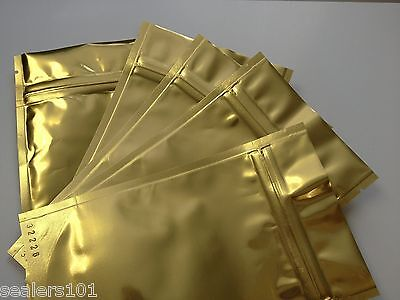 "2oz GOLD FOIL Stand up Ziplock Pouches, 25pcs - 4"" x 6"" + 2 3/8"""