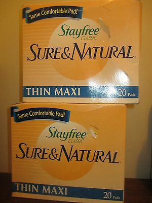 (2) Vintage * STAYFREE classic SURE & NATURAL thin maxi 20 pads each