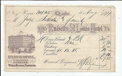 1874 BILL-HEAD for THE ST. LOUIS HOTEL ST. LOUIS STREET QUEBEC