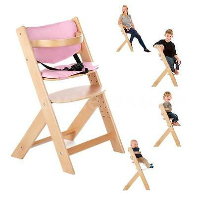 Baby High Chair Wooden Infant Toddler Feeding Booster Seat Safe Portable R7G5