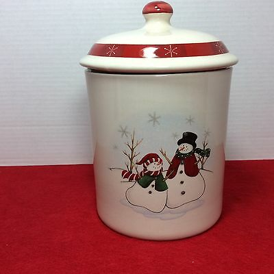 Royal Seasons Stoneware Cookie Jar Canister w/ Lid Snowman ~ Discontinued Design
