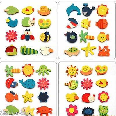 New 12Pcs Baby Kid Cute Funny Educational Toy Cartoon Wood Wooden Fridge Magnet