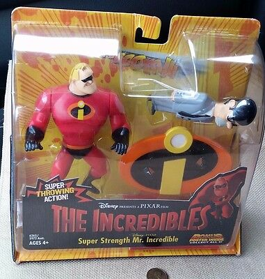THE INCREDIBLES Super Strength MR INCREDIBLE Figure Toy w/ Mr Humph figure New