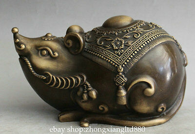 """6.8"""" Antique Chinese Copper Fengshui Zodiac Year Mouse Mice Coins Wealth Statue"""