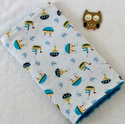 Handcrafted White Flannel Boat / Anchor & Blue Minky Bubble Baby Burp Cloth