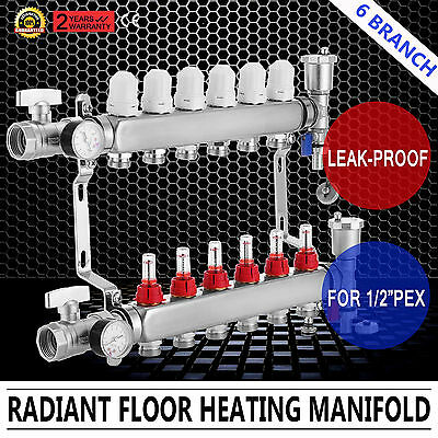 "6 branch PEX Radiant Floor Heating Brass Manifold Kit 1/2"" PEX"