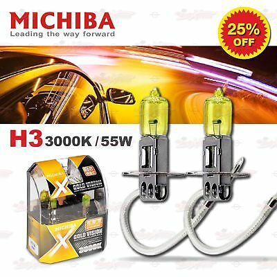 MICHIBA H3 12V 55W 3000K YELLOW LOOK OPTIK Halogen Birnen Super GELB Fernlicht