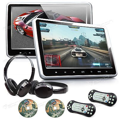 "Active 2x 10.1"" 1024x600 Car Headrest DVD Player Pillow Monitor Game Headset C"