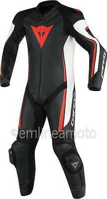 Leather Suit Dainese Assen 1PC Professional Estiva Black/White/Fluo-Red