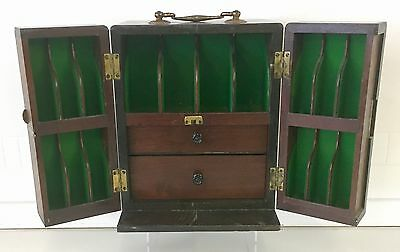 Antique Victorian Inlaid Doctors Medicine Cabinet Fitted Interior
