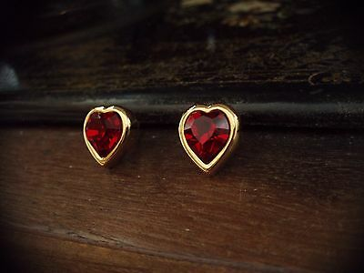 Vintage Gold Heart with Ruby Red Crystal Pierced Earrings