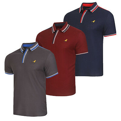 7be16bdf KANGOL JOVAN MENS Polo Shirt New Designer Waffle Knit Top Cotton Pique Tee  - EUR 10,25 | PicClick FR