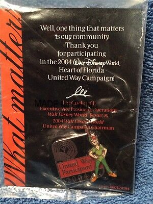 Disney Pin Peter Pan United Way Participant 2004 LE Cast Member Stacked Pin