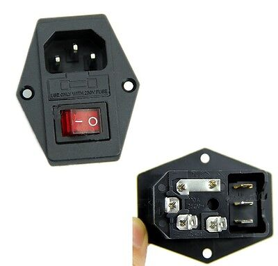 Black Red AC 250V 10A 3 Terminal Power Socket with Fuse Holder S