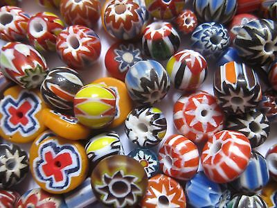 Loose beads. 45 Venetian glass multi-coloured beads