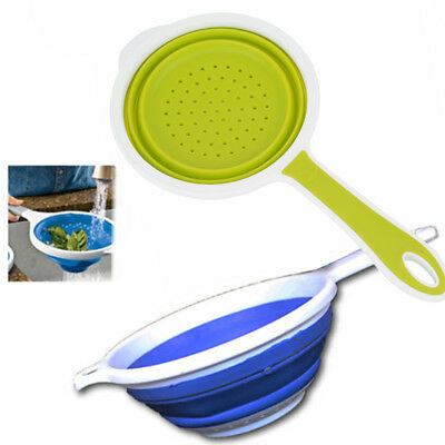 Silicone Collapsible Colander Fruit Vegetable Food Draining Strainer  Handle