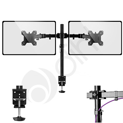 "Double Twin Arm Desk Mount Bracket LCD Computer Monitor Stand 13""-27"" Screen TV"