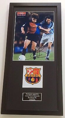 Carles Puyol Barcelona FC Hand Signed Autograph Mounted Frame