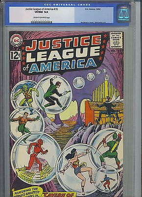 JUSTICE LEAGUE OF AMERICA #16 CGC VF/NM 9.0; CM-OW; Cavern of Deadly Spheres!